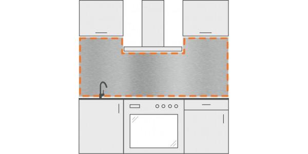 Crédence en inox pour cuisine découpée sur mesure en forme de U
